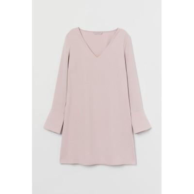 H&M - Vネックワンピース - ピンク