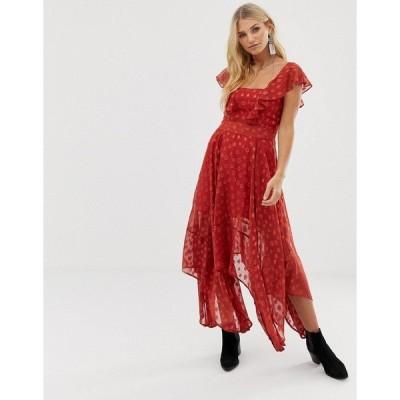 レリジョン レディース ワンピース トップス Religion maxi dress in sheer dobby with frill detail Red