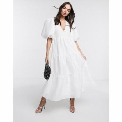 エイソス ASOS EDITION レディース ワンピース ティアードドレス ワンピース・ドレス tiered midi smock dress in textured stripe ホワ