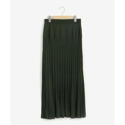 スカート プリーツライク編みブライトニットマーメイドスカート