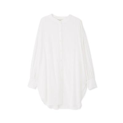 《Sシリーズ対応商品》スタンドネックロングチュニックシャツ ホワイト