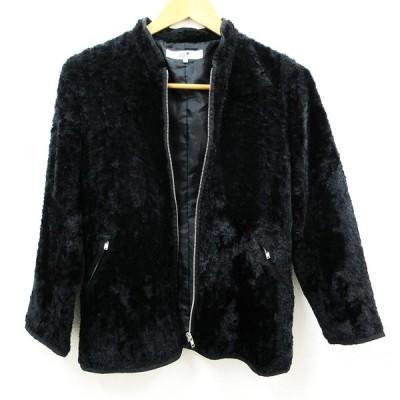 23区 オンワード樫山 ジャケット ジップアップ サイズ32 レディース ブラック 古着 中古 美品 他