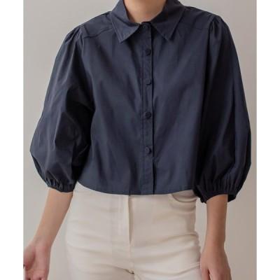 シャツ ブラウス 20AW_カジュアルバルーンクロップドコットンシャツ