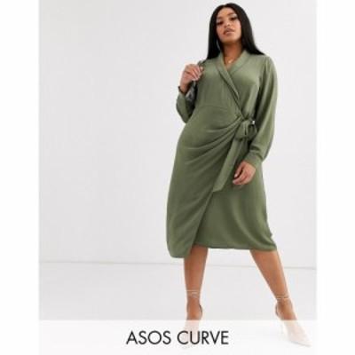エイソス ASOS Curve レディース ワンピース ラップドレス ミドル丈 ワンピース・ドレス asos design curve collared wrap midi dress カ