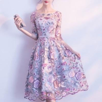 パーティードレス 結婚式 二次会 ワンピース 大きいサイズ 花柄 ドレス 膝丈 フレア Aライン 五分袖 シースルー お呼ばれ パープル