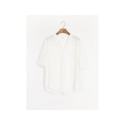 Ladies 3色 Vネック シンプル ブラウス V-neck simple blouse