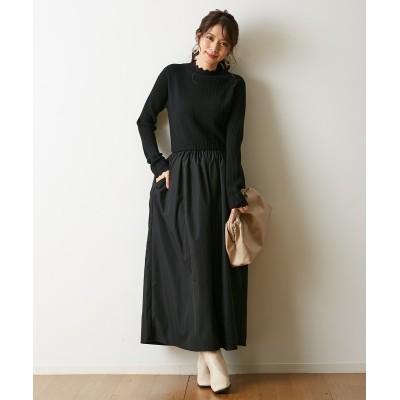 ケーブルニット異素材ドッキングワンピース (ワンピース)Dress