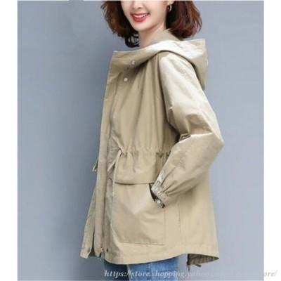 トレンチコート レディース 秋 フートつき トレンチコート スプリングコート ジャケット 韓国風 ゆったり カジュアル 30代40代50代