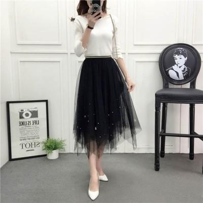 チュールスカート ティアードスカート 可愛い スカート レディース きれいめ ブラック