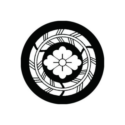 家紋シール 白紋黒地 三つ矢の丸に花菱 布タイプ 直径40mm 6枚セット NS4-1559W