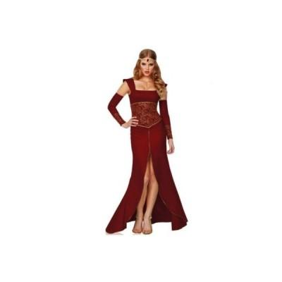 衣装 セクシー コスプレ 中世 スリットの入った赤いドレス