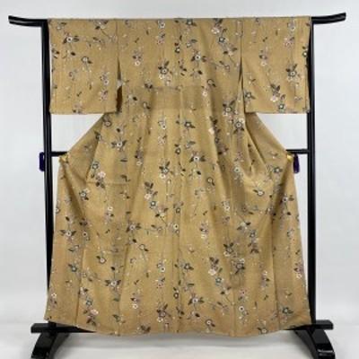 【在庫一掃】 小紋 美品 秀品 草花 薄茶色 袷 身丈161.5cm 裄丈65cm M 正絹 中古