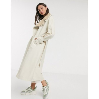 エイソス レディース コート アウター ASOS DESIGN double layer oversized trench coat in stone