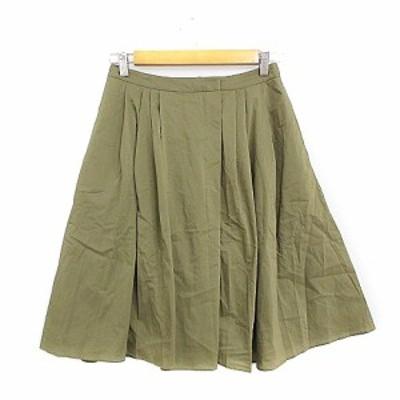 【中古】アーバンリサーチ URBAN RESEARCH スカート ギャザー ひざ丈 タック F カーキ /AAM15 レディース