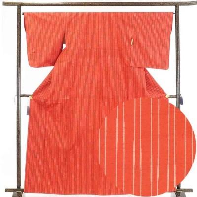 リサイクル着物 紬 正絹朱赤地縦縞袷紬着物未使用品