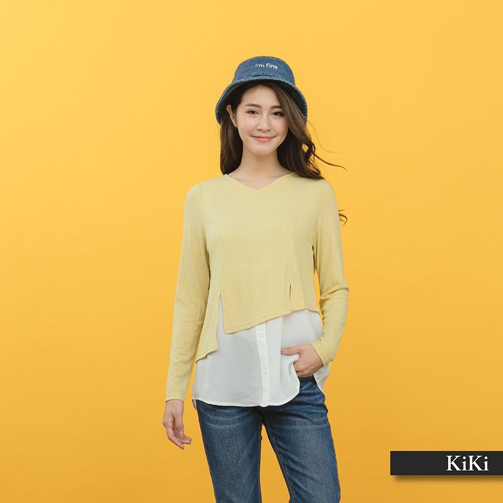 【KiKi】假兩件式拼接-上衣(二色/版型適中)