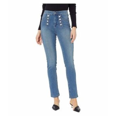 ワンステイト レディース デニムパンツ ボトムス Five-Pocket High-Rise Button Front Skinny Jeans in Mid Authentic Wash Mid Authenti