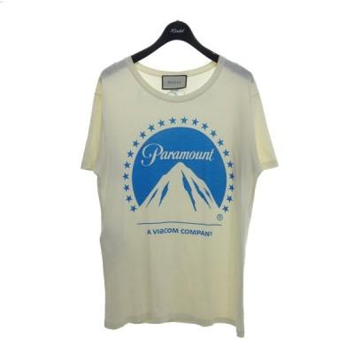 GUCCI 【2019SS】Paramount バックロゴプリントTシャツ ホワイト サイズ:S (京都店) 210413