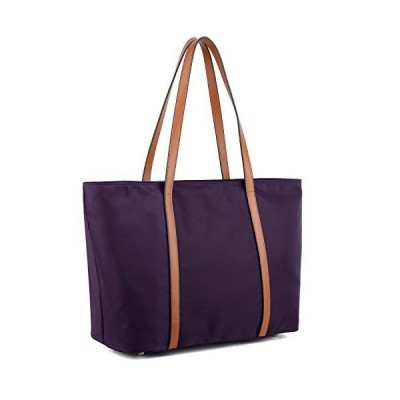 YALUXE Tote for Women Leather Nylon Shoulder Bag Women's Oxford Nylon Large Capacity Work fit 15.6 inch Purple【並行輸入品】