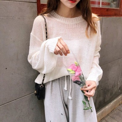 シアーニット レディース 春 サマーニット 長袖 シースルー 透け感 シアーニット ホワイト 白 ピンク ゆったり 無地 着まわし 春夏 きれいめ 大人可愛い 上品