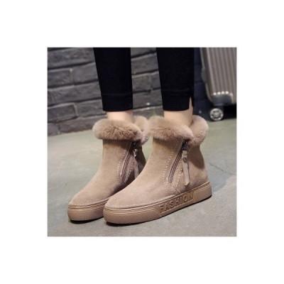 スノーブーツ レディース フェイクファー シューズ ブーツ ムートンブーツ 裏ボア 女性用 短靴 雪対応 防寒 保温 防寒 滑り止め ショートブーツ