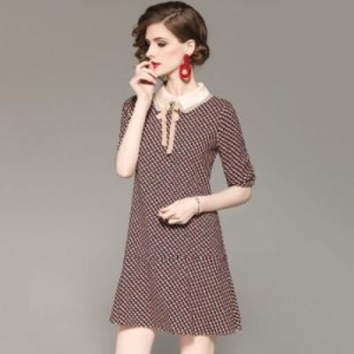 襟付き フリル リボンボウタイ ビジュー 個性的 プリント柄 Aライン 高級感 エレガント 膝丈 ドレス
