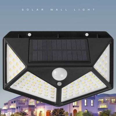 【4セット】LED センサーライト 太陽光充電式 人体感知 100LED 人感センサー IP65防水規格 停電 防犯ライト 自動点灯 屋外 玄関ライト