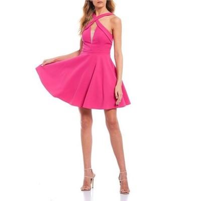 シティヴァイブ レディース ワンピース トップス Sleeveless X-Neck Twill Fit-and-Flare Dress