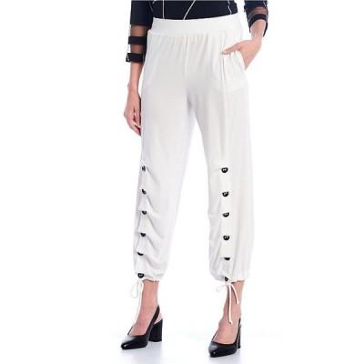 アイシーコレクション レディース カジュアルパンツ ボトムス Button Accent Hem Pull-On Pants