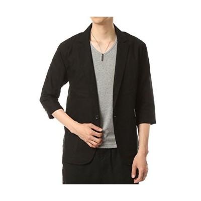 トップイズム 綿麻 リネン メンズ テーラード ジャケット 7分袖 無地 1B 3-ブラック7分袖 L