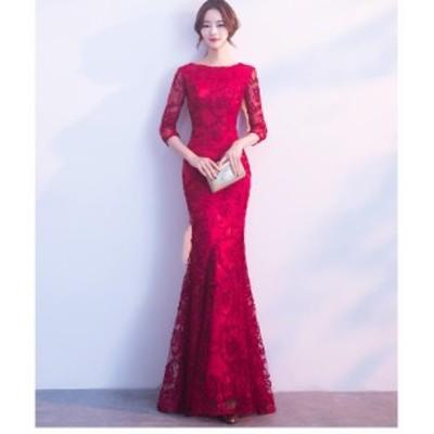 マーメイドドレス 袖あり ロングドレス パーディードレス 上品 大人 二次会 ゴージャス 演奏会 大きいサイズ フォマール ウエディングド