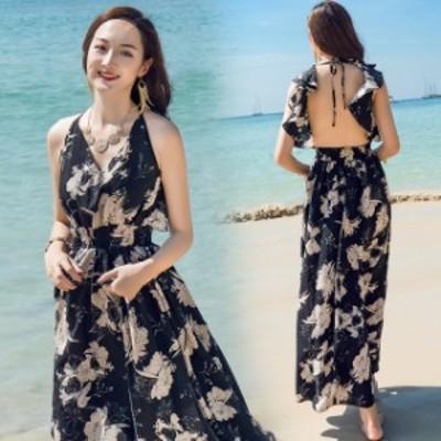 サマードレス リゾートドレス レディース ロングワンピース 大きいサイズ マキシワンピ ノースリーブ セクシー 花柄のワンピース