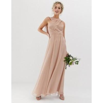 エイソス レディース ワンピース トップス ASOS DESIGN Bridesmaid cross front soft drape maxi dress Soft blush