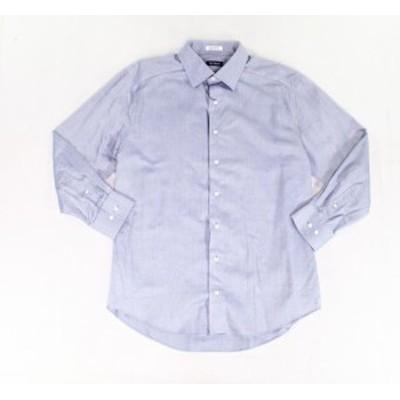 ファッション ドレス E.B. Wood NEW Blue Mens Size 17 1/2 Printed Long Sleeve Dress Shirt
