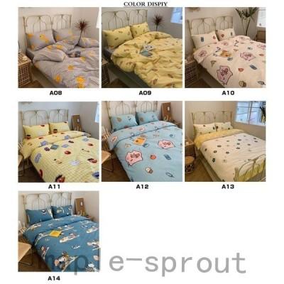 ベッドカバー4点セットダブルサイズ柔らかい寝具掛け布団カバーベッドカバーシーツ枕カバー可愛い100%綿キャラクター