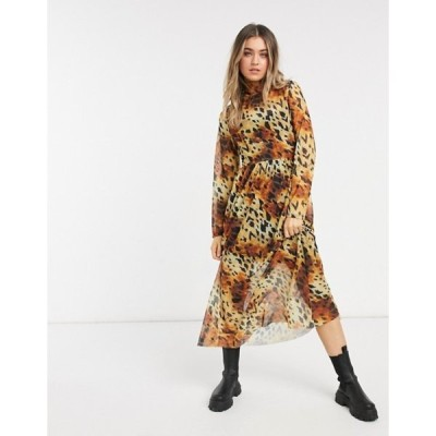 エイソス レディース ワンピース トップス ASOS DESIGN mesh midi dress in animal print