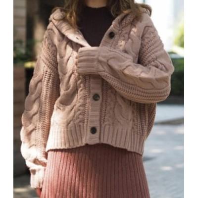 ケーブルニット ニット ケーブル カーディガン レディース 大きいサイズ ざっくり フェミニン 長袖 ゆったり ハイネック 秋冬 ゆったり