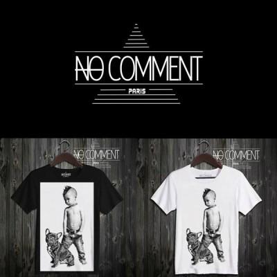 NO COMMENT PARIS ノーコメントパリ 半袖 Tシャツ ブラック ホワイト ラウンドネック Vネック メンズ レディース 大きい 小さい ロックキッド rock kid KID02