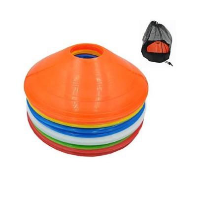 マーカーコーンディスクマーカーコーントレーニングコーンサッカーフットサル用品6色30本セット収納袋が含まれています。 (6 色)