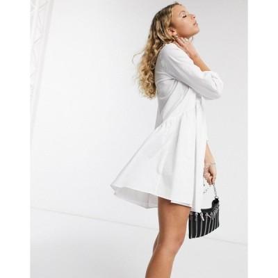 オンリー レディース ワンピース トップス Only poplin shirt dress in white White