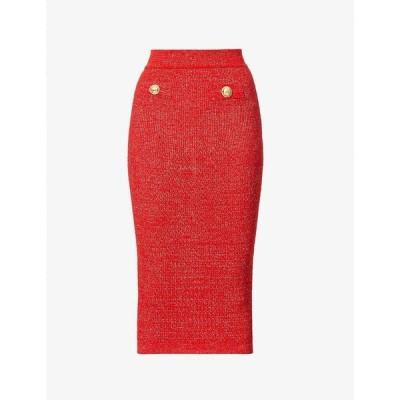 バルマン BALMAIN レディース ひざ丈スカート スカート High-waist stretch-knit midi skirt ROUGE