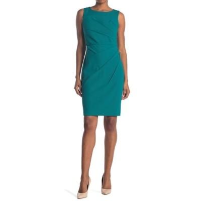 カルバンクライン レディース ワンピース トップス Sleeveless Starburst Stitch Sheath Dress EVERGLADE