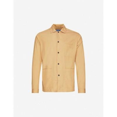 イートン ETON メンズ シャツ トップス Regular-fit cotton-twill shirt Offwhite/Brown