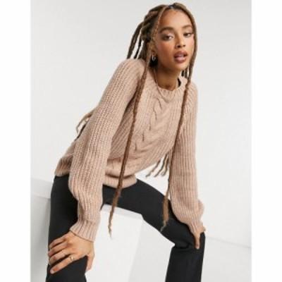 オンリー Only レディース ニット・セーター ケーブルニット トップス cable knit jumper in pink ピンク