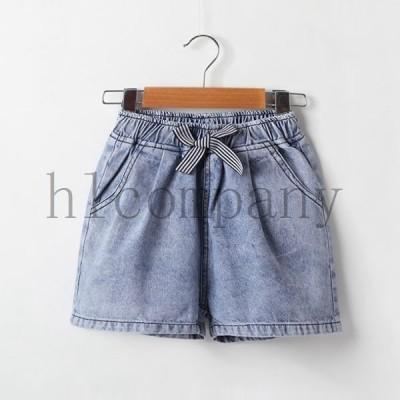 ズボン半ズボン韓国子ども服女の子デニムショートパンツシンプルキッズお洒落個性ブルー110120130140150160cm