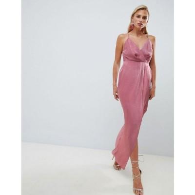 エイソス ASOS DESIGN レディース ワンピース ワンピース・ドレス satin cami strappy back maxi dress Dark pink