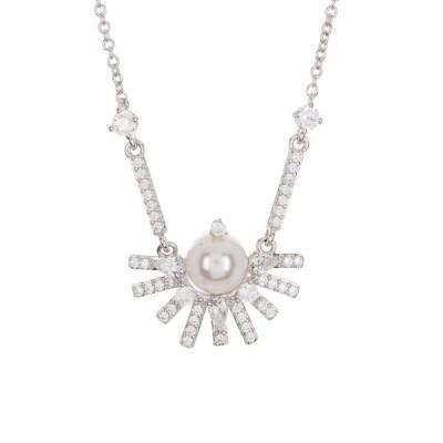 ナディール レディース ネックレス・チョーカー・ペンダントトップ アクセサリー Ambrosia Fan Pearl & Cubic Zirconia Necklace RHODIUM