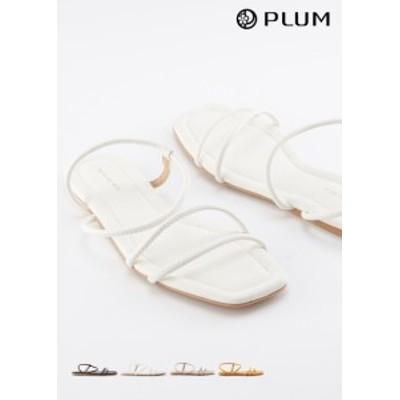 ぺたんこ サンダル アンクル ストラップ  紐編み ビーチ 歩きやすい リゾート レディース 春夏 歩きやすい ホワイト オレンジ ブラック