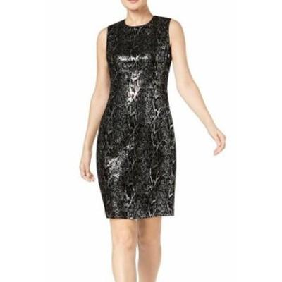 Calvin Klein カルバンクライン ファッション ドレス Calvin Klein NEW Black Womens Size 12 Velvet Animal Print Sequin Dress