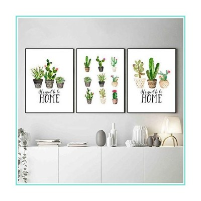 XIONGSHENG Plant Wall Art Canvas Painting Print Posters Cactus Pictures Modern Home Decor 60x90cm with Frame Green【並行輸入品】